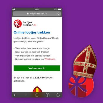 Sinterklaas apps lootjestrekken.nl Tele2
