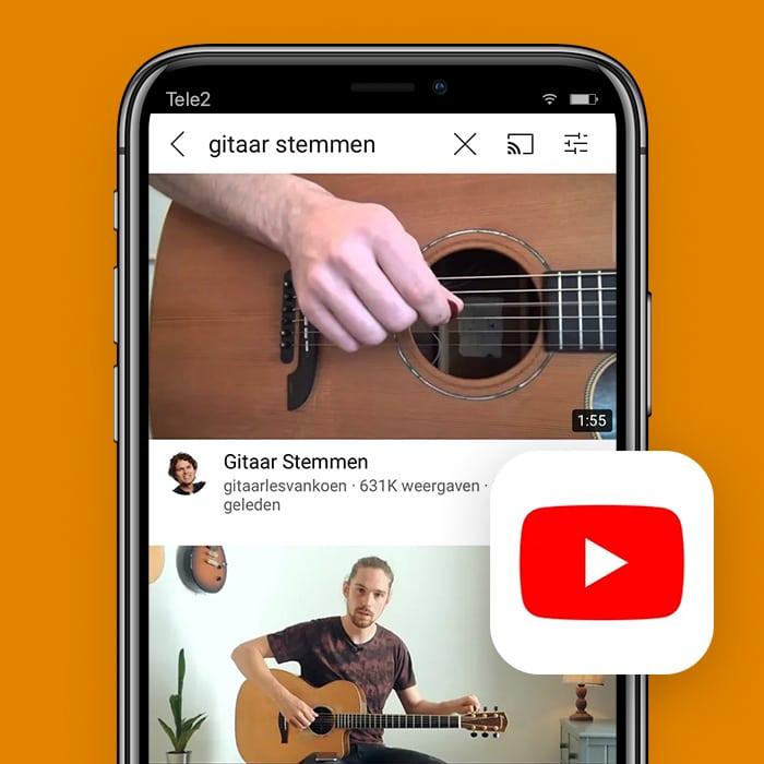 Zo stem je je gitaar met je smartphone met YoTube